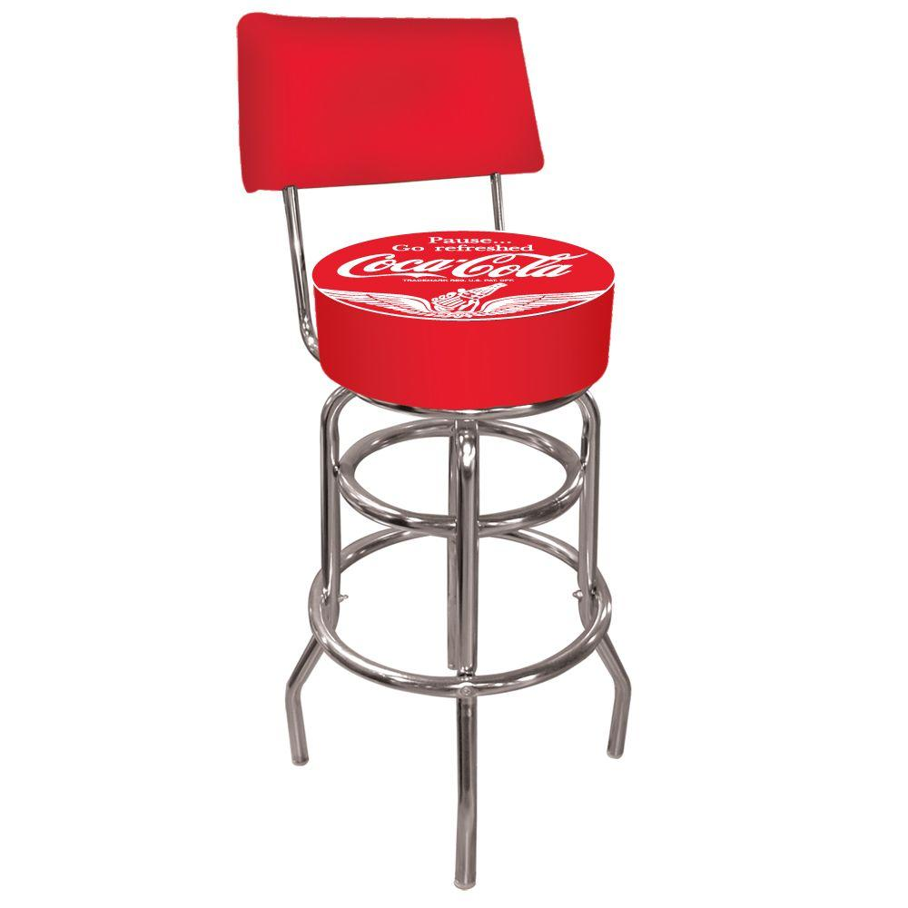 Trademark Wings Coca Cola 30 In Chrome Swivel Cushioned Bar Stool