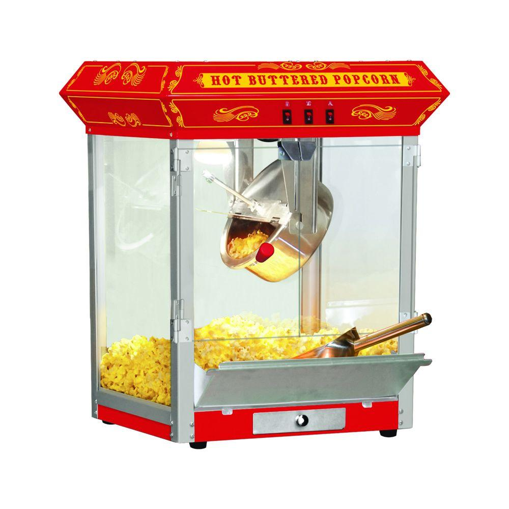Funtime 8 oz. Popcorn Machine, Red/Orange There's nothing in the world like the smell and taste of fresh, theater style hot buttered popcorn. Funtime Popcorn Machines are the hit of every party. Entertain your friends and family, while making some of the most delicious popcorn imaginable. These beautiful classic style popcorn machines bring back the fun feel of yesteryear, back to a time when you could buy a bag of hot buttery popcorn for a nickel. Color: Red/Orange.