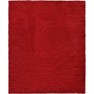 Solid Shag Cherry Red 12 ft. x 15 ft. Area Rug