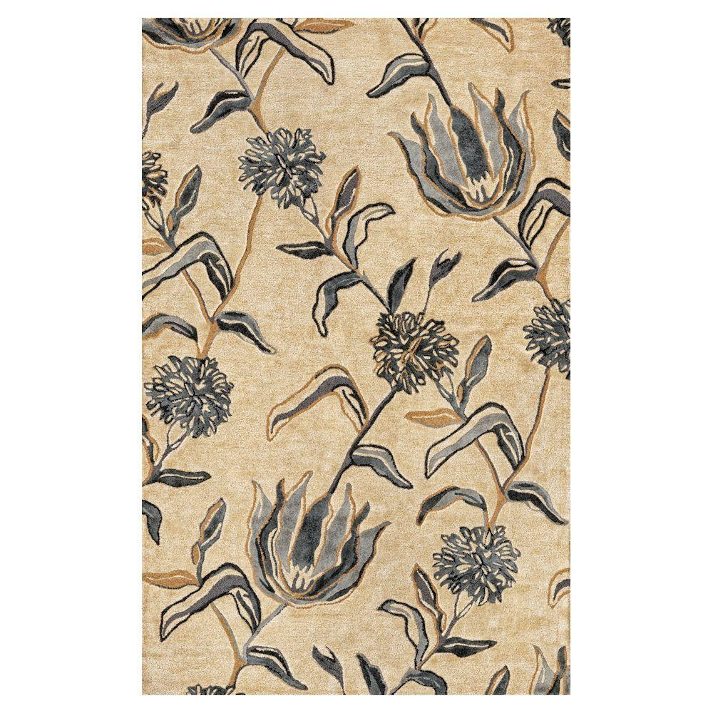 Flowers at Dusk Ivory 5 ft. x 8 ft. Area Rug