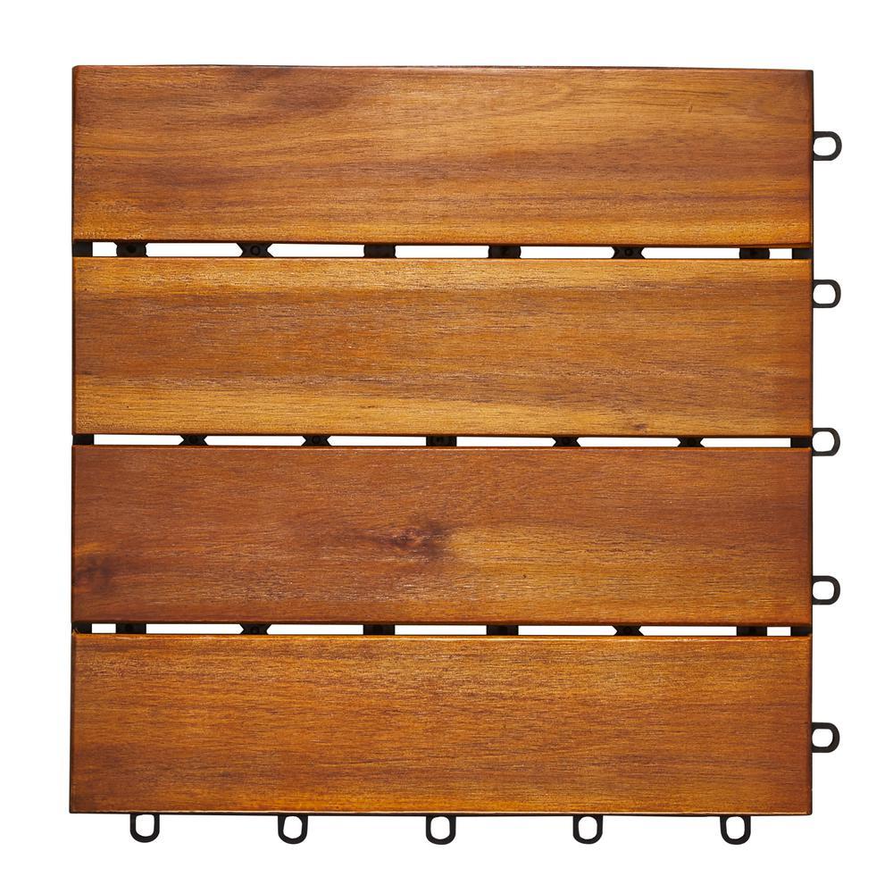 Roch 4-slat 12 in. x 12 in. Wood Outdoor Balcony Deck Tile (10 sq. ft. / case)