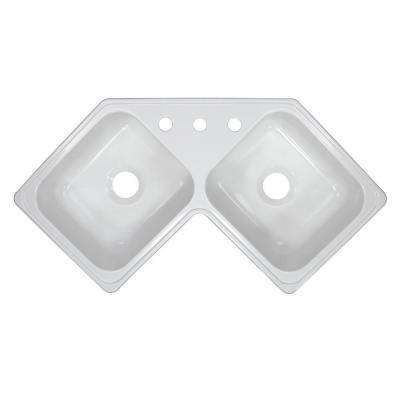 Style V Drop-In Acrylic 17 in. 3-Hole 50/50 Corner Double Bowl Kitchen Sink in White