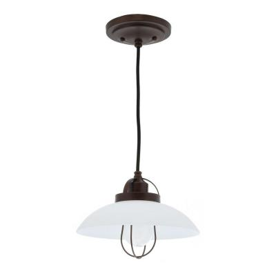 Urban Renewal 10 in. W 1-Light Bronze Patina Industrial Warehouse Mini Pendant with White Etched Glass Shade