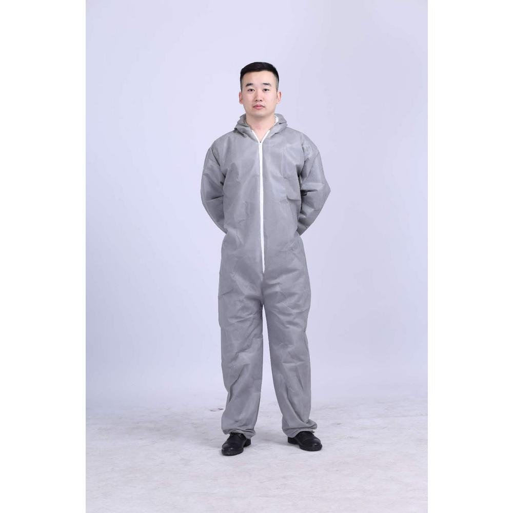 Everbilt Men's X/L-Large Grey SMS Breathable Hooded Coveralls