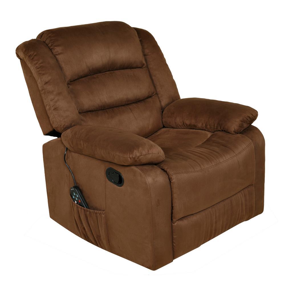Relaxzen Longstreet Brown Microfiber Massage Rocker Recliner With