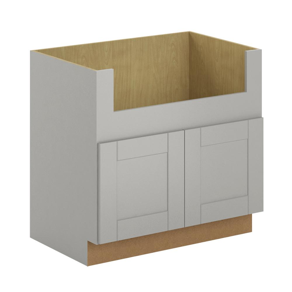 Hampton Bay Princeton Shaker Assembled 36x34 5x24 In Farmhouse Apron Front Sink Base Cabinet In Warm Grey