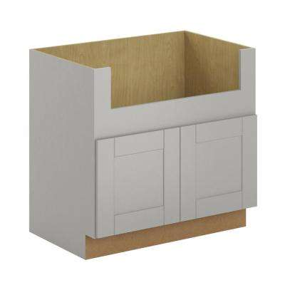 Princeton Shaker Assembled 36x34.5x24 in. Farmhouse Apron-Front Sink Base Cabinet in Warm Grey