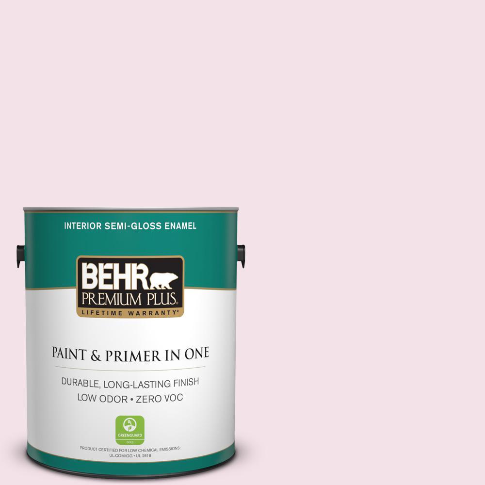 BEHR Premium Plus 1-gal. #100A-2 Be Mine Zero VOC Semi-Gloss Enamel Interior Paint