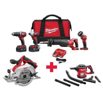M18 18-Volt Lithium-Ion Cordless Combo Kit (4-Tool) with Free M18 6-1/2 in. Circ Saw and M18 Vacuum