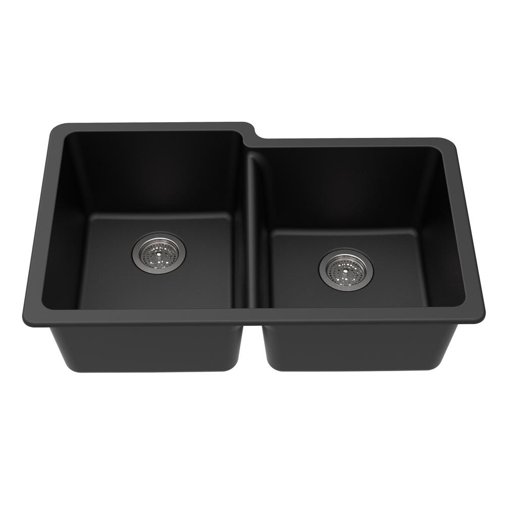 Winpro undermount granite composite 33 in l 40 60 offset - Undermount granite composite kitchen sink ...