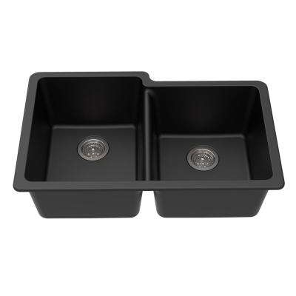 Undermount Granite Composite 33 in. L 40/60 Offset Double Bowl Kitchen Sink in Black