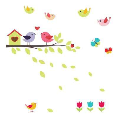 12.2 in. x 24.4 in. Birds on the Branch Window Decals