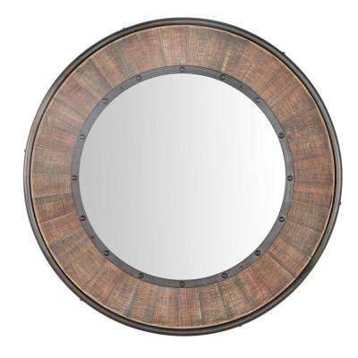 31 in. Diameter Home Decorators Collection Rustic Round Framed Wood Accent Mirror with Metal Trim