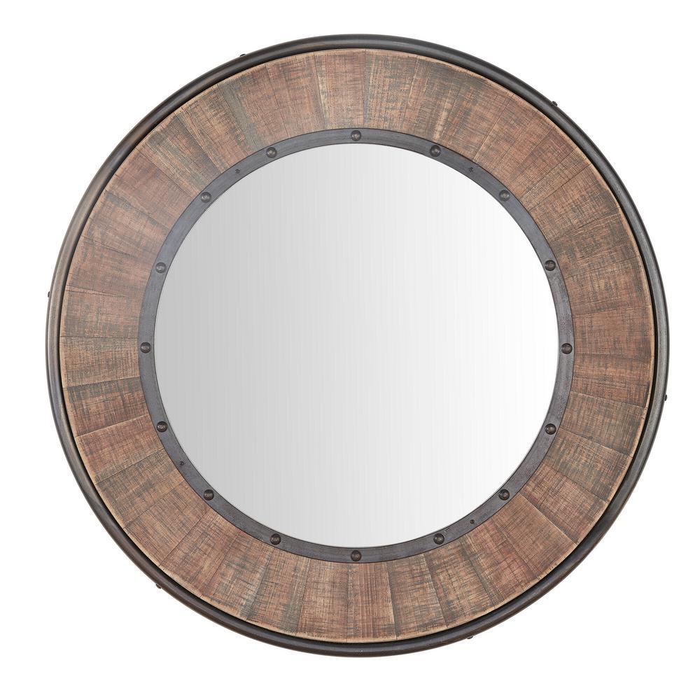 Medium Round Farmhouse Accent Mirror with Wood Finish (31 in. Diameter)