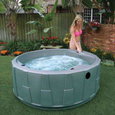 Premium 200 5-Person Plug and Play Hot Tub with 20 Stainless Jets, Heater, Ozone and LED Waterfall in Graystone