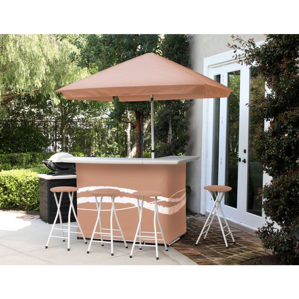 home patio bar. Best Of Times Classic Tan All-Weather Patio Bar Set With 6 Ft. Umbrella Home