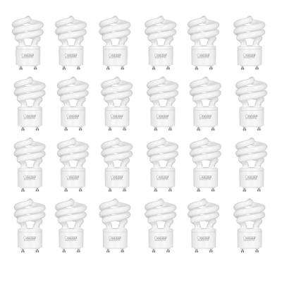 60W Equivalent Soft White (2700K) Spiral GU24 CFL Light Bulb (24-Pack)