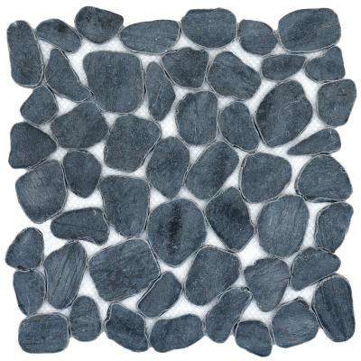 Cultura Black 12 in. x 12 in. x 9 mm Pebbles Mesh-Mounted Mosaic Tile (1 sq. ft.)