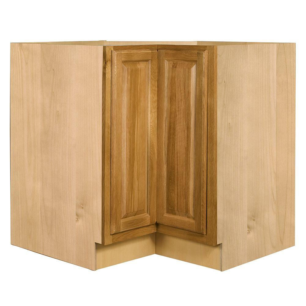 Home Decorators Collection Weston Assembled 33 x 34.5 x 24 in. Base Easy Reach Corner Cabinet in Light Oak