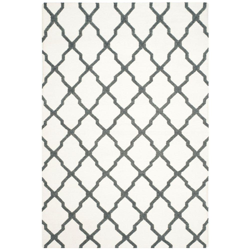 Dhurries Ivory/Charcoal 6 ft. x 9 ft. Area Rug
