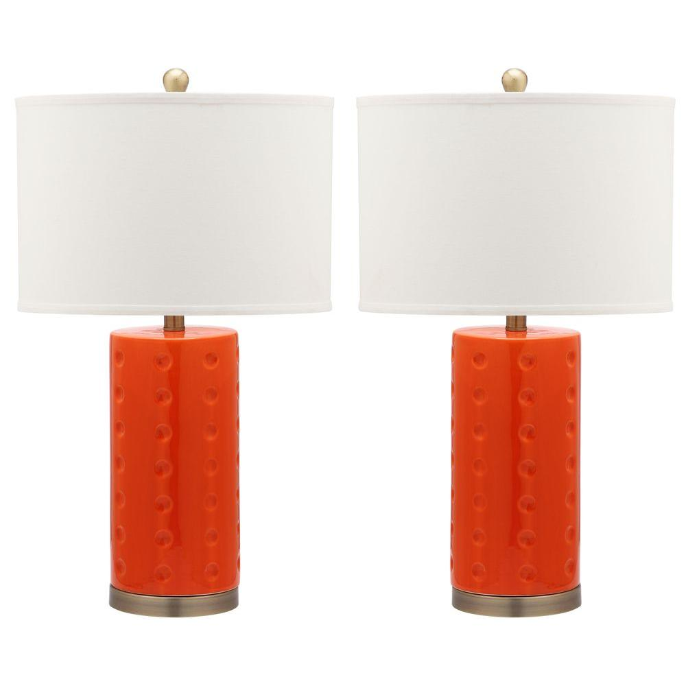 Safavieh juniper 275 in orange table lamp with white shade orange table lamp with white shade set of mozeypictures Image collections