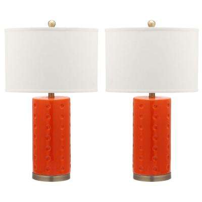 Roxanne 26 in. Orange Table Lamp with White Shade (Set of 2)