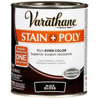 1 Qt. Black Gloss Water-Based Interior Wood Stain and Polyurethane (2-Pack)