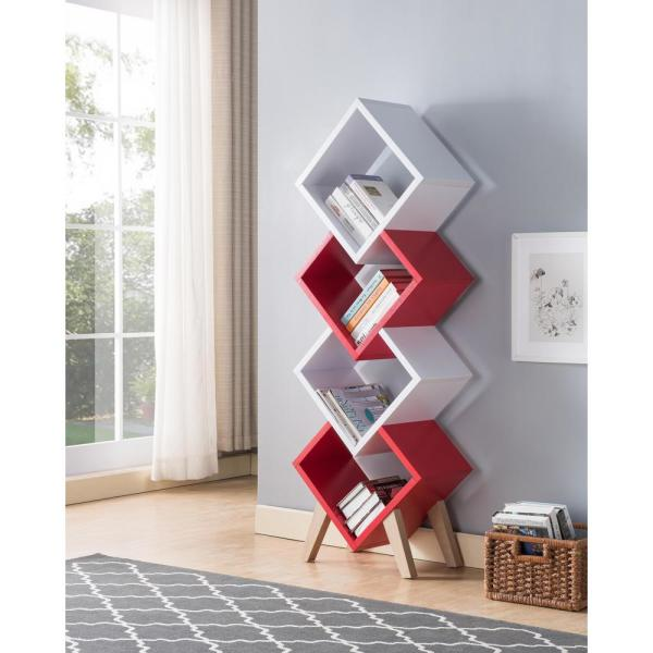 Furniture Of America Scout 62 In White Red Wood Shelf Modern Bookcase Accent With 4 Unique Shelves Idi 202685 The Home Depot
