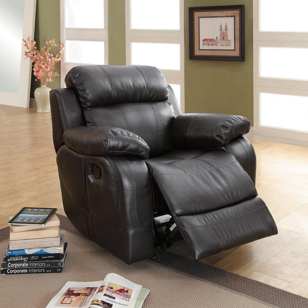 kenwood black bonded leather recliner