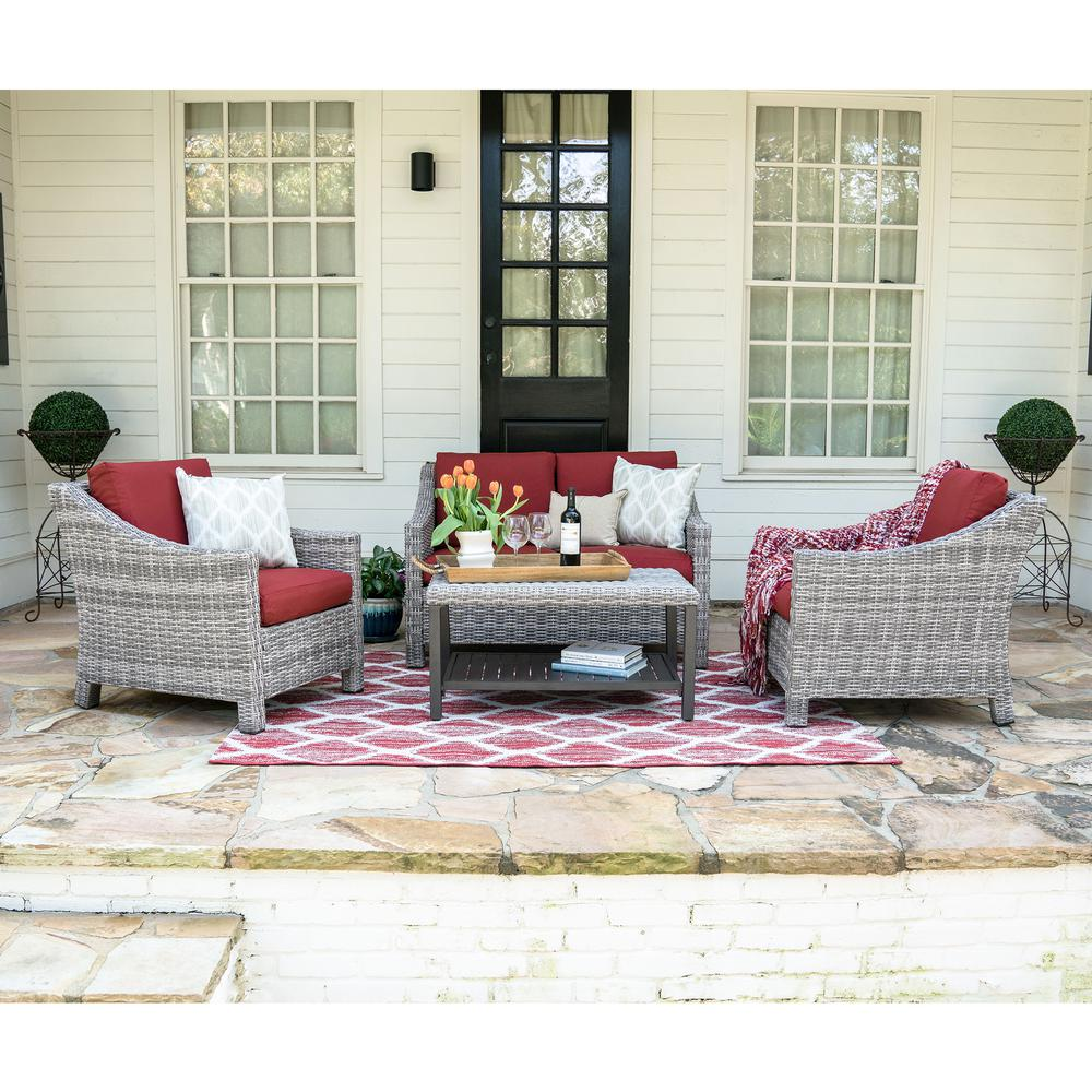 Marietta 4-Piece Wicker Patio Conversation Set with Red Cushions