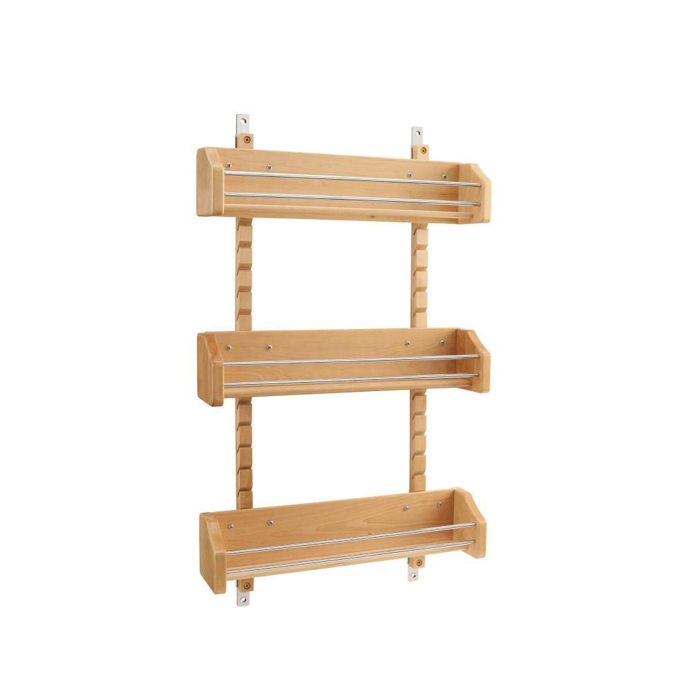 Rev A Shelf 25 In H X 16125 In W X 4 In D Large Cabinet Door Mount Wood Adjustable 3 Shelf Spice Rack