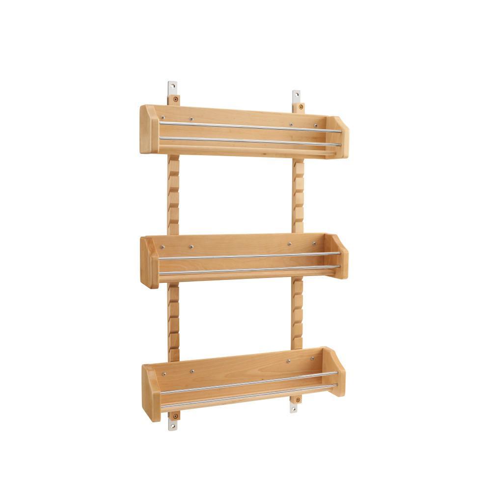 25 in. H x 16.125 in. W x 4 in. D Large Cabinet Door Mount Wood Adjustable 3-Shelf Spice Rack