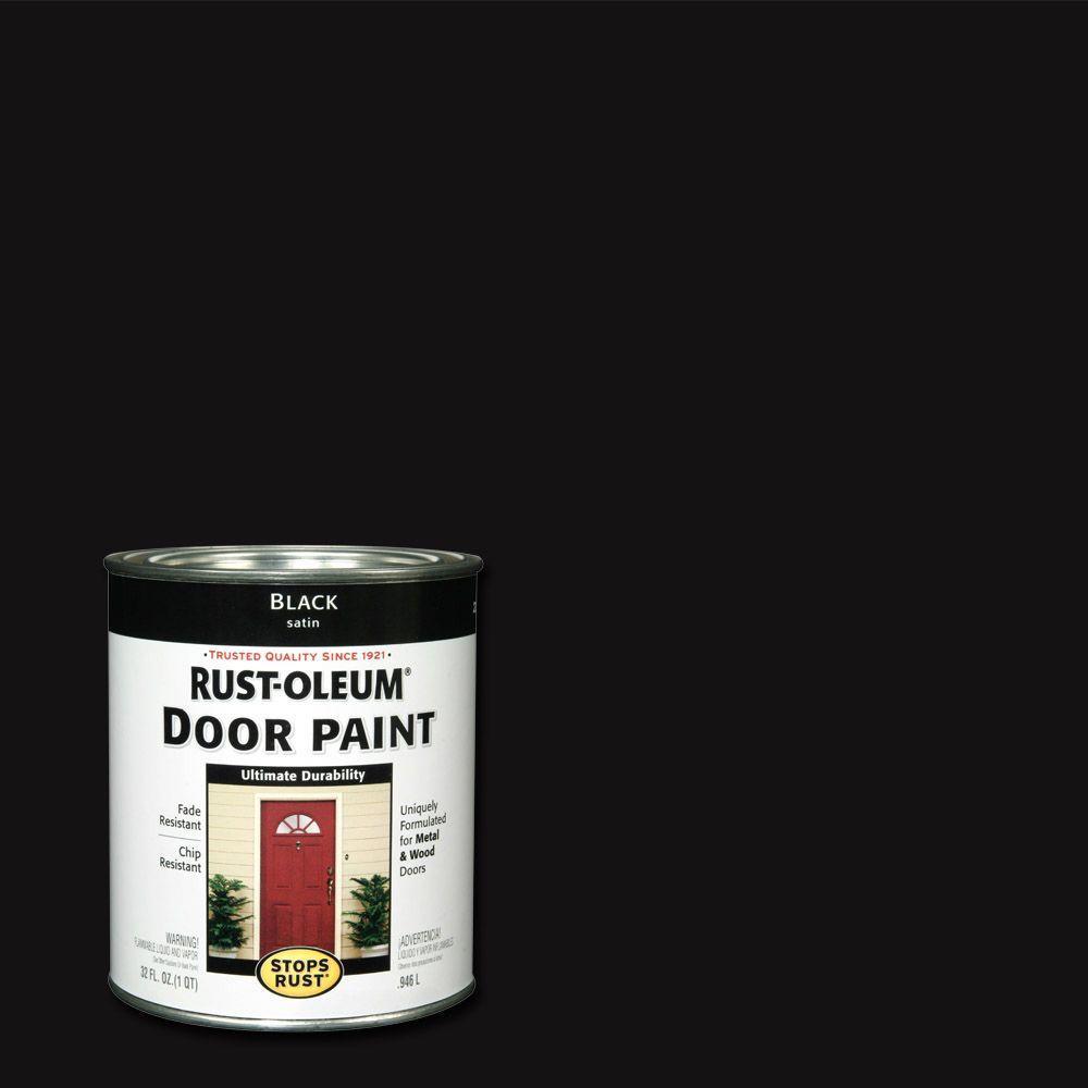 Rust-Oleum Stops Rust 1 qt. Black Door Paint (2-Pack)