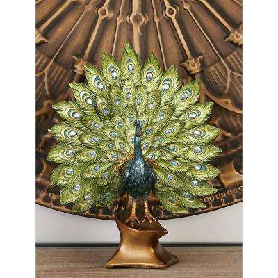 Round Polystone Peacock with Fanned Feathers Sculpture