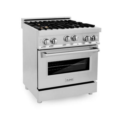 ZLINE 30 in. Professional 4.0 cu. ft. 4 Gas on Gas Range in Stainless Steel with Brass Burners