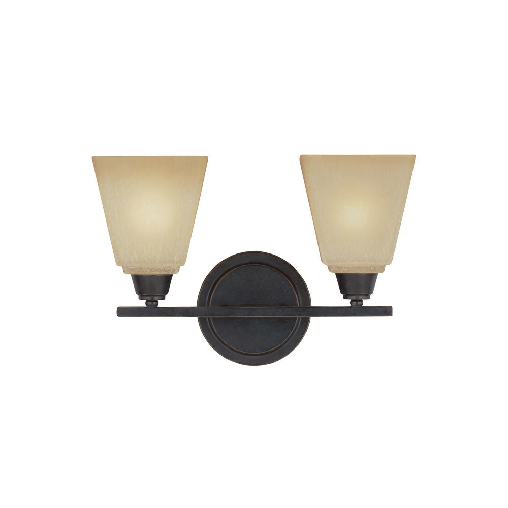 Sea Gull Lighting Parkfield 2-Light Flemish Bronze Bath Light with LED Bulbs