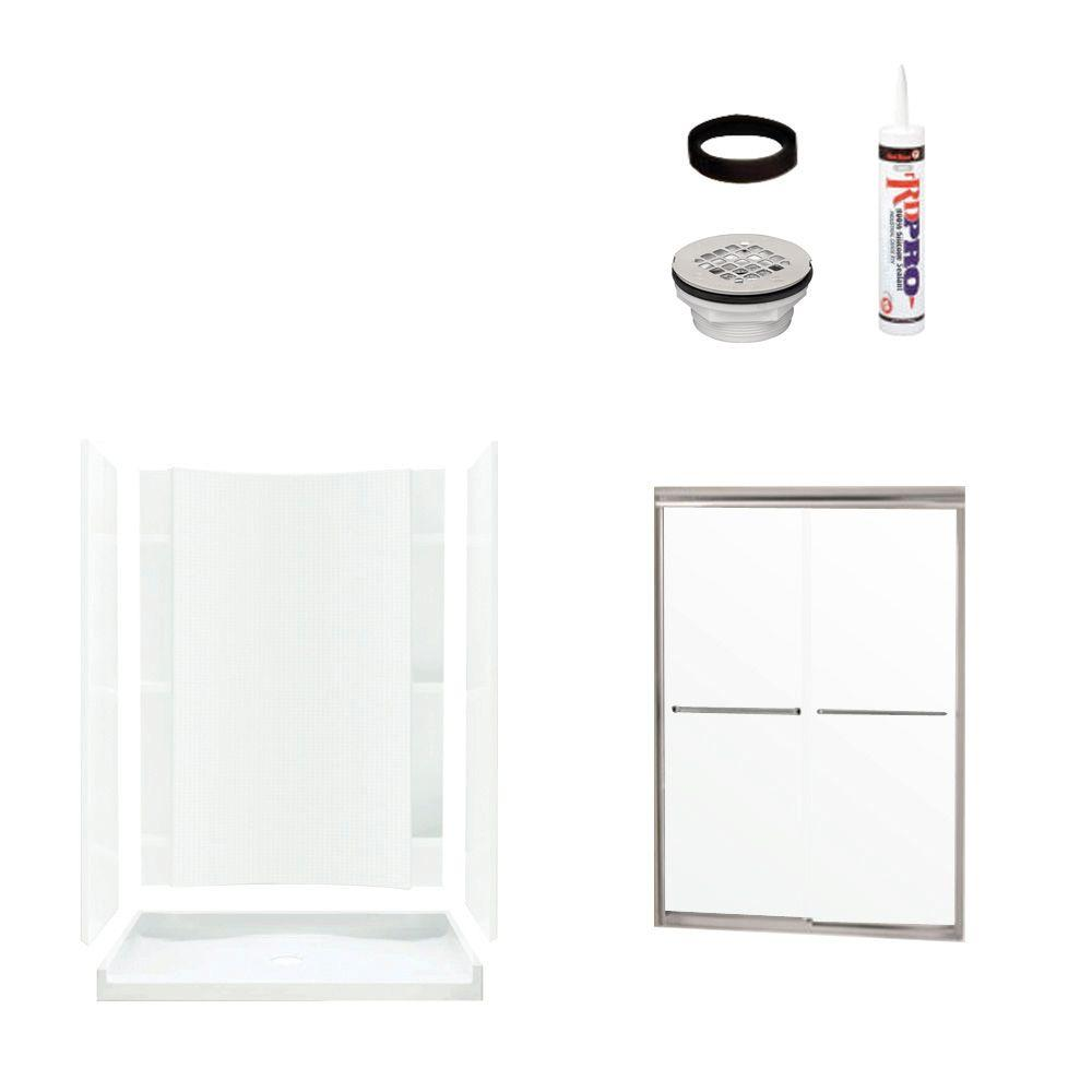 STERLING Accord 36 in. x 60 in. x 77 in. Shower Kit with Shower Door in White/Chrome-DISCONTINUED