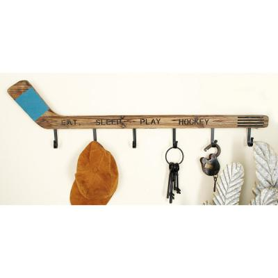 40 in. W x 11 in. H Hockey Stick Wall Hook Rack in Distressed Brown and Black