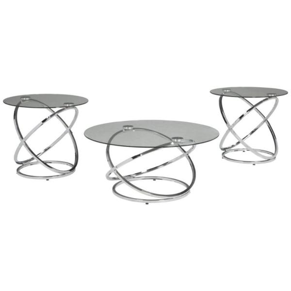 Benjara Contemporary 3 Piece 26 In Clear Silver Medium Round Glass Coffee Table Set With Metal Rings Base Bm190116 The Home Depot