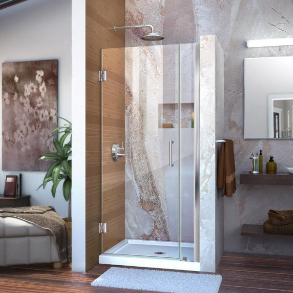 Dreamline Unidoor 36 To 37 In X 72 In Frameless Hinged Shower Door In Chrome Shdr 20367210cs 01 The Home Depot
