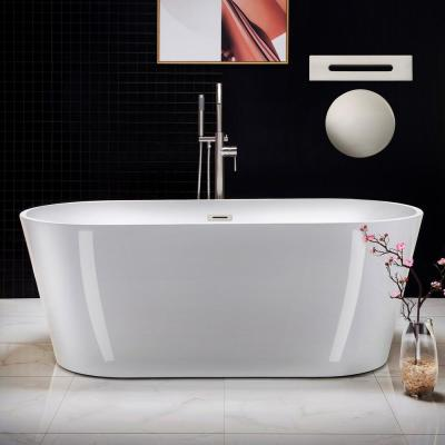 Darby 67 in. Acrylic Flatbottom Double Ended Bathtub with Brushed Nickel Overflow and Drain Included in White