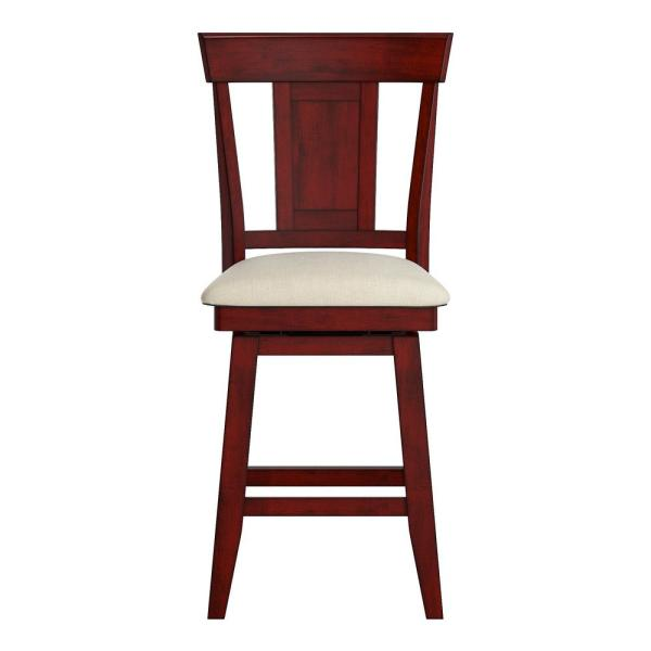 HomeSullivan 24 in. H Antique Berry Panel Back Swivel Chair with