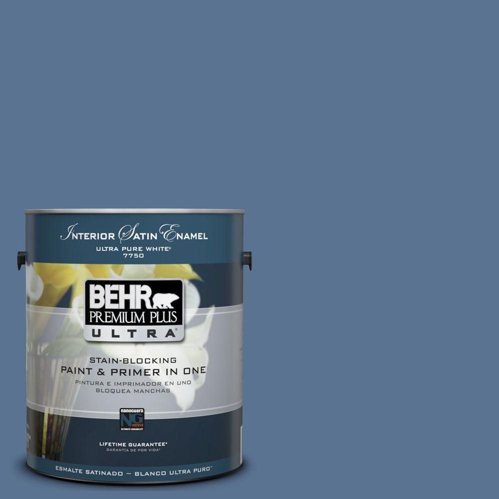 BEHR Premium Plus Ultra 1 gal. #UL240-19 Laguna Blue Satin Enamel Interior Paint and Primer in One