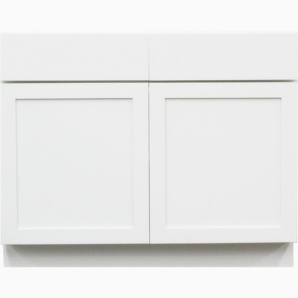 Shaker Ii Ready To Emble 36x34 5x24 In Frosted 2 Door Drawer Base Cabinet White