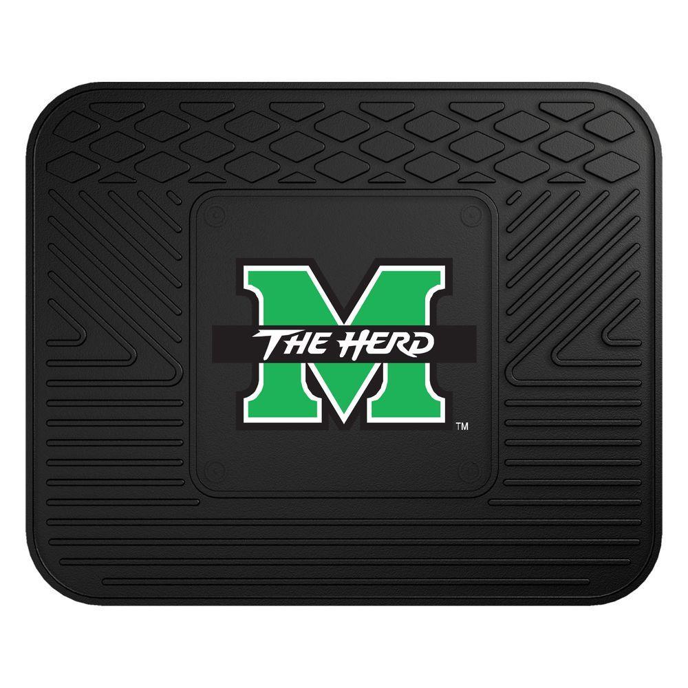 NCAA Marshall University Black Heavy Duty 1-Piece 14 in. x 17 in. Vinyl Utility Mat