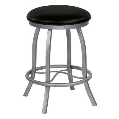 Derry 26 in. Cantina Black Swivel Barstool