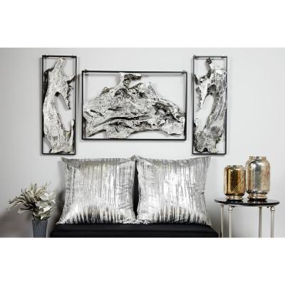 Contemporary Abstract Art Silver Metal Wall Decor in Black Frame