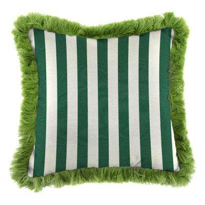 Sunbrella Mason Forest Green Square Outdoor Throw Pillow with Gingko Fringe