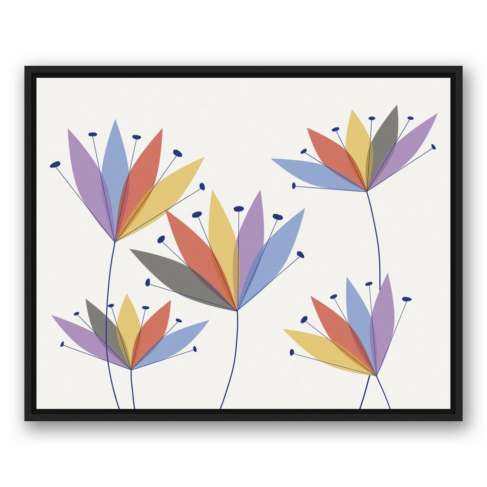 24 in. x 30 in. ''Mod Flowers'' Printed Framed Canvas Wall