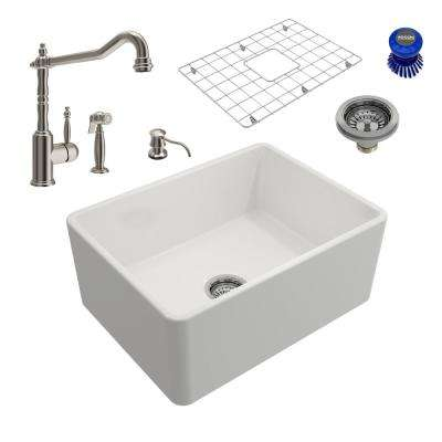 Classico All-in-One Farmhouse Fireclay 24 in. Single Bowl Kitchen Sink with Lesina Brushed Nickel Faucet and Soap Disp